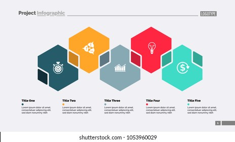 Five hexagons process chart slide template. Business data. Step, workflow, design. Creative concept for infographic, presentation, report. Can be used for topics like insurance, strategy, research.
