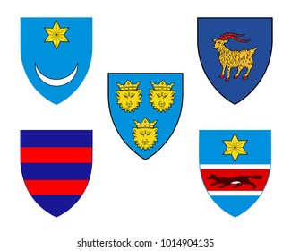 Five historical coats of arms of Croatia: Illyria, Dubrovnik, Dalmatia, Istria and Slavonia. Isolated symbols on white background. Vector illustration
