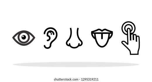 Five human senses icons in flat style. Senses symbol for your web site design, logo, app, UI Vector EPS 10.