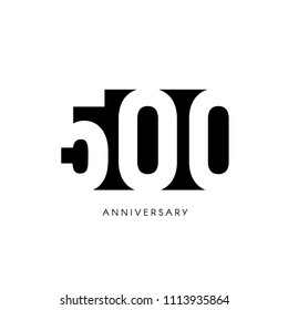 Five hundred anniversary, minimalistic logo. Five-hundredth years, 500th jubilee, greeting card. Birthday invitation. 500 year sign. Black negative space vector illustration on white background