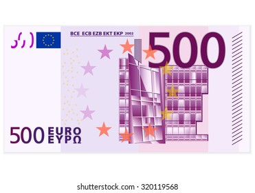 Five hundred euro banknote on a white background.