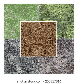 Five illustration of vector natural colored camouflage, simple pixel based digital seamless pattern; two variants is forest camo, two - urban textured and one is rocky ground desert marpat.