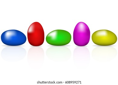 Five isolated pieces of rounded candy with reflection. Super sweet blue red green pink and yellow smarties in circular shape reflected on white background.