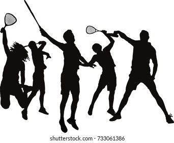 Five jumping squash players silhouettes