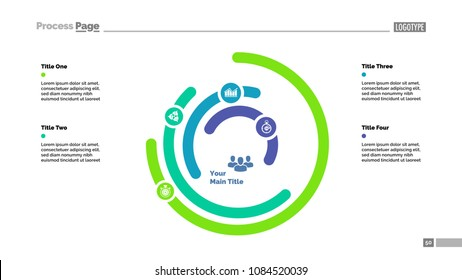 Five layer circular chart slide template. Business data. Graph, diagram, comparison. Creative concept for infographic, presentation. Can be used for topics like recruitment, management, marketing