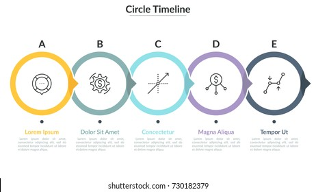 Five lettered round elements with pointers and thin line icons inside placed into horizontal row. Successive steps of development process. Infographic design layout. Vector illustration for brochure.