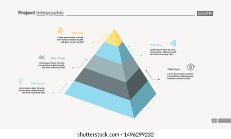 Five level pyramid chart. Diagram, slide, template. Creative concept for infographics, presentation, project, report. Can be used for topics like business, marketing, analysis