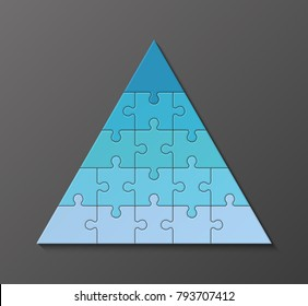 Five levels color pyramid. Puzzle presentation infographic template with explanatory text field for business statistics illustration. Five stages triangle puzzle piece shape. Vector puzzle infographic
