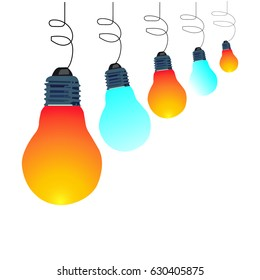 five lightbulb hanging and white background