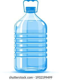 Five liter plastic water bottle container with handle quality illustration standing on white background, water delivery service of fresh purified water isolated illustration