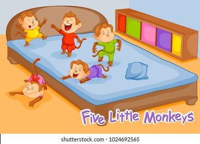 Five Little Monkeys, Kids English Nursery Rhymes book illustration in vector