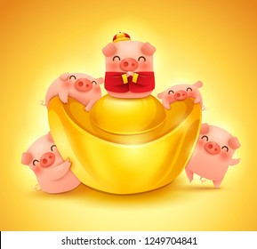 Five little pigs with chinese gold ingot. Greetings from the golden pig. Poster design.