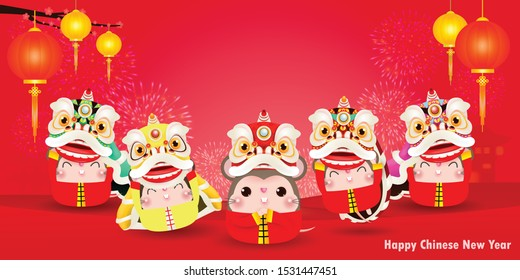 five little rats and lion dance, Happy new year 2020 year of the rat zodiac, Cartoon isolated vector illustration, greeting card red color on Background, Translation: Happy New Year.