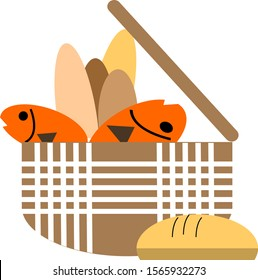 Five loaves two fish in basket