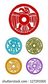 five mayan symbols, animals and human