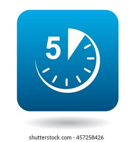 Five minutes icon in flat style in blue square. Time symbol