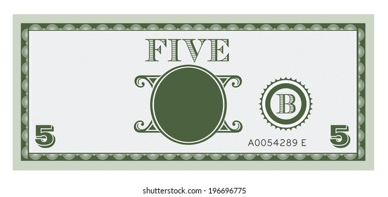 Five money bill image. With space to add your text, information and image.