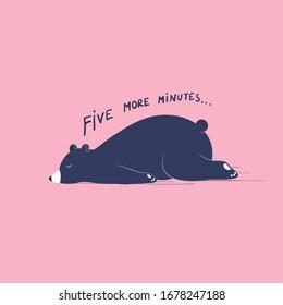 Five more minutes concept. Sleeping lazy bear. Card, sticker banner design. Cartoon vector flat illustration.