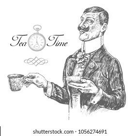 Five o'clock Tea Time. Elegant gentleman holding cup and saucer. Vintage engraving style. Victorian Era hand drawn vector illustration