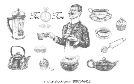 Five o'clock Tea time set with teacup, teapot, strainer. Gentleman holding cup and saucer. Vintage engraving style. Victorian Era hand drawn vector illustration