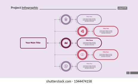 Five options flowchart slide template. Business data. Structure, hierarchy, design. Creative concept for infographic, presentation, report. Can be used for topics like consulting, teamwork, planning.