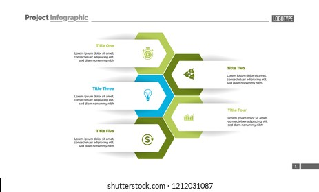 Five options process chart slide template. Business data. Workflow, visualization, design. Creative concept for infographic, presentation, report. For topics like research, strategy, consulting.