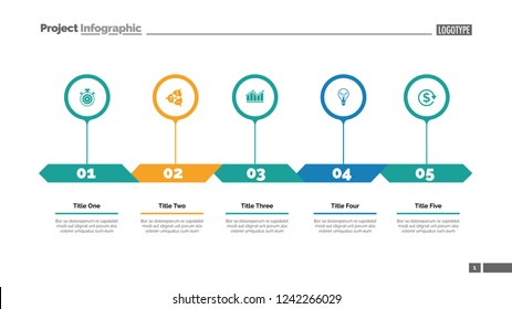 Five options process chart slide template. Business data. Strategy, diagram, design. Creative concept for infographic, presentation. Can be used for topics like management, teamwork, planning.