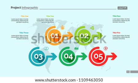 Five Options Process Chart Slide Template Stock Vector Royalty Free