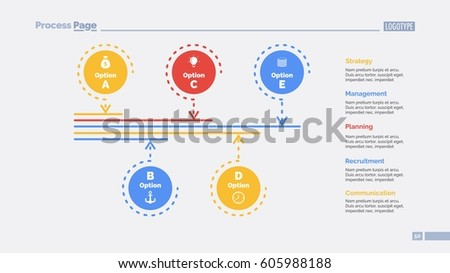 Five Options Process Slide Template Stock Vector Royalty Free
