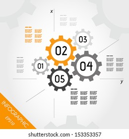 five orange infographic gears with axis. infographic concept.