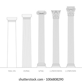 Five orders of Architecture, columns vector set