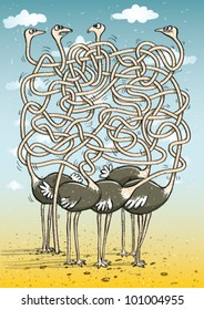 Five Ostriches : Maze Game Task: find which ostrich has head buried in the sand.