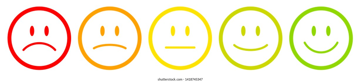 Five Outline Faces Mood Color Red To Green