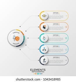 Five paper white elements with linear signs and text boxes inside connected to central circle by lines. Concept of web menu with 5 options to choose. Infographic design template. Vector illustration.
