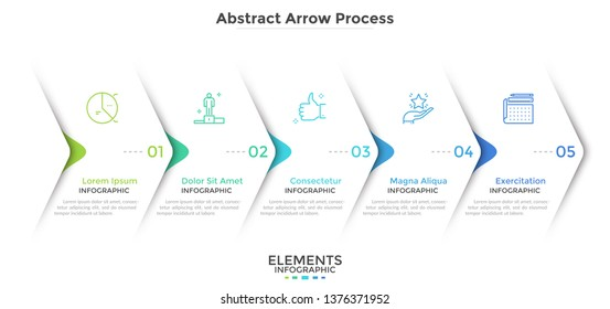Five paper white overlapping arrows placed in horizontal row. Concept of 5 successive steps of progressive business development. Simple infographic design template. Abstract vector illustration.