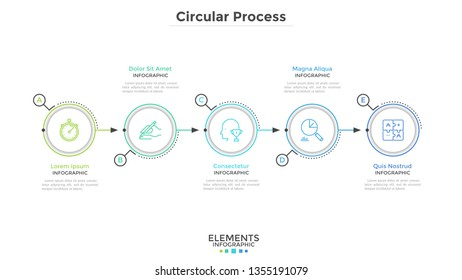 Five paper white round elements arranged in horizontal row. Concept of 5-stepped business development process. Modern infographic design template. Minimal vector illustration for progress bar.