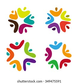 Five people ,family ,kids ,child, body icon. Vector colorful logo Template.