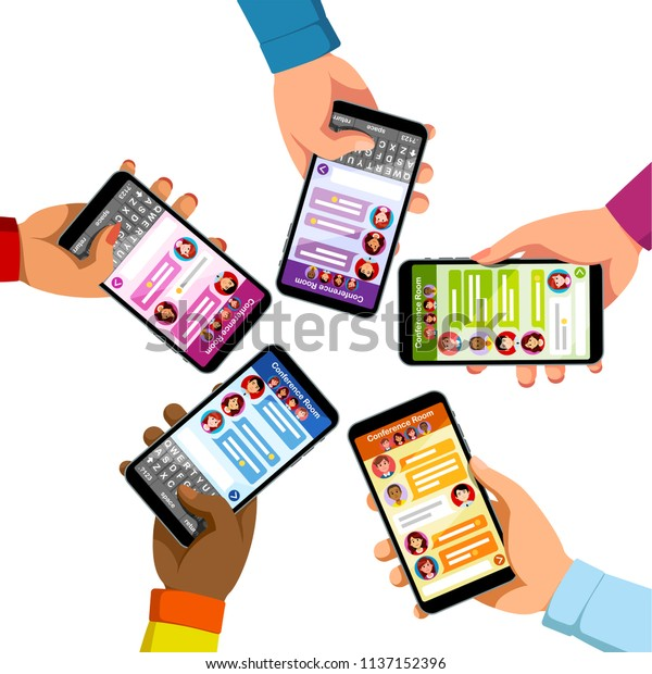Five People Group Chatting Sending Text Stock Vector