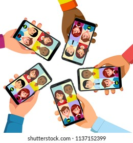 Five people group talking together on video conference app phone call. Hands holding phones showing faces. Collective mobile team group call video conferencing communication. Flat vector illustration