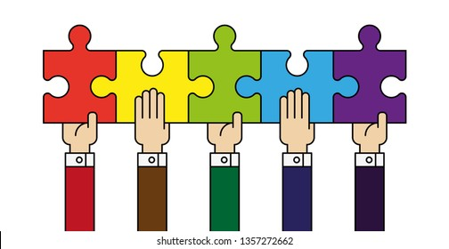Five people hands putting puzzle 5 pieces. Teamwork business concept. Idea working together banner. Colaborative people design, vector puzzle illustration. Hand business man connecting puzzle elements