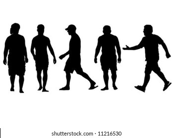 Five people walking in silhouette isolated on white