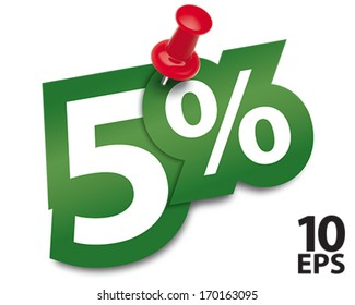 Five percent sticker fixed by a thumbtack. Vector illustration