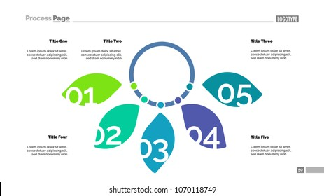 Five petal diagram slide template. Business data. Graph, chart, design. Creative concept for infographic, report. Can be used for topics like development, investment, ecology