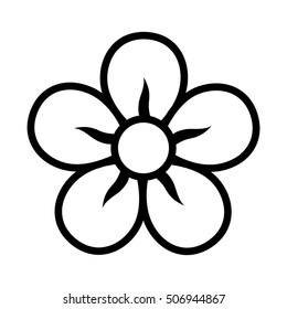 Five petal flower blossom or bloom line art vector icon for apps and websites