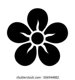 Five petal flower blossom or bloom flat vector icon for apps and websites