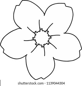 Five petals cherry blossom drawing in black and white