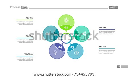 Five Petals Process Chart Slide Template Stock Vector (Royalty Free ...