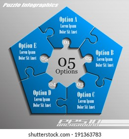 Five piece flat puzzle infographic presentation. 5 step circle business diagram. Five section compare service banner. Vector illustration template shape . 3d Abstract Background