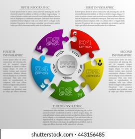 Five piece puzzle business presentation. Circle infograph. 5 step diagram