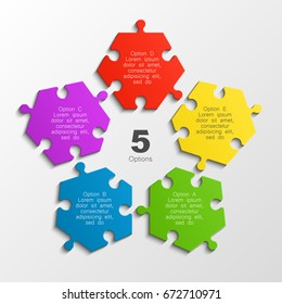 Five piece puzzle business presentation. Circle infograph. 5 step puzzle process diagram. Five section compare service banner. info graphic banner background